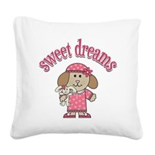 sweetdreamspuppypinkpj Square Canvas Pillow