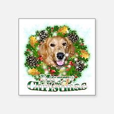 """Merry Christmas Golden Retr Square Sticker 3"""" x 3"""""""