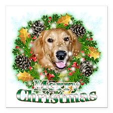 "Merry Christmas Golden R Square Car Magnet 3"" x 3"""