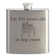65 birthday dog years bulldog Flask