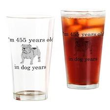 65 birthday dog years bulldog Drinking Glass