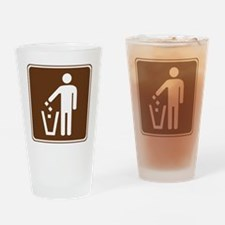 brown_litter_container_sign_real Drinking Glass
