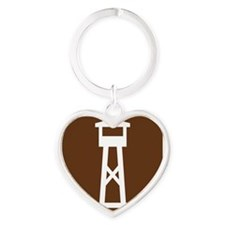 brown_lookout_tower_sign_real Heart Keychain