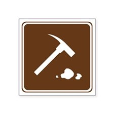 """brown_rock_collecting_sign_ Square Sticker 3"""" x 3"""""""