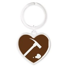 brown_rock_collecting_sign_real Heart Keychain