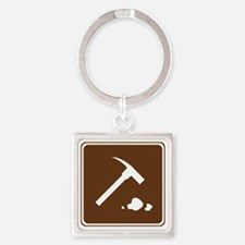 brown_rock_collecting_sign_real Square Keychain