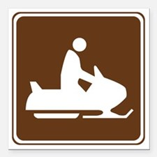 """brown_snowmobiling_sign_ Square Car Magnet 3"""" x 3"""""""