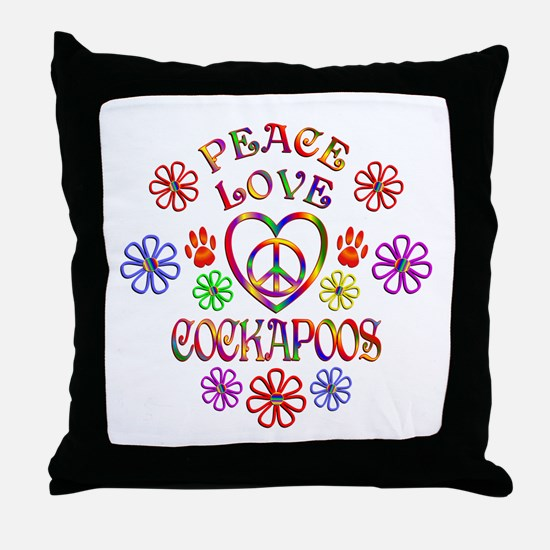 Peace Love Cockapoos Throw Pillow