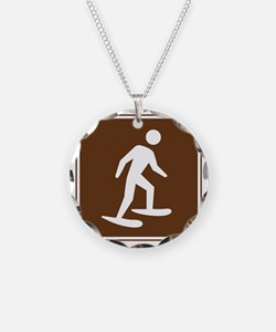brown_snowshoeing_sign_real Necklace