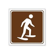 "brown_snowshoeing_sign_real Square Sticker 3"" x 3"""