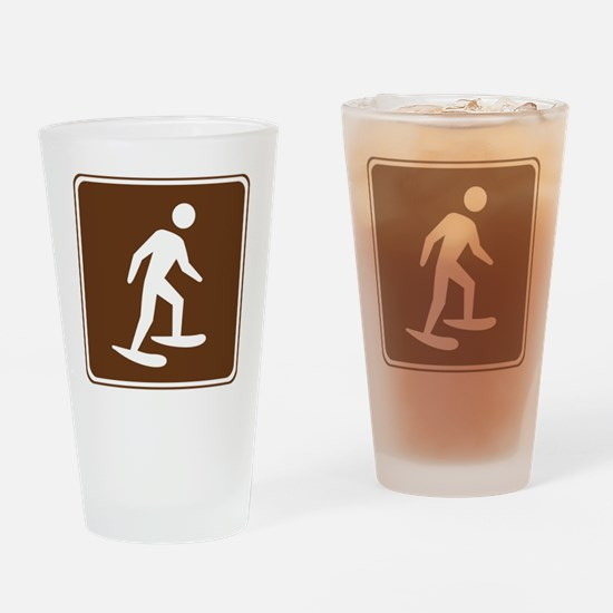 brown_snowshoeing_sign_real Drinking Glass