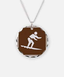 brown_surfing_sign_real Necklace