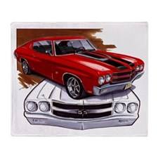 1970 Chevelle Red-Black Car Throw Blanket