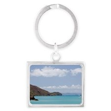 Sailing boats anchored in cove  Landscape Keychain