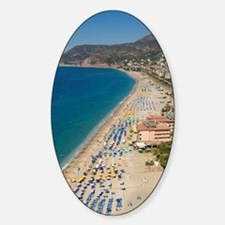 Aerial view of beach in Alanya, Ant Sticker (Oval)