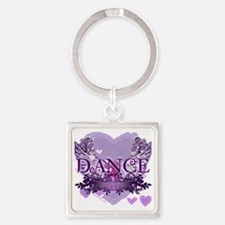 dance forever purple heart copy Square Keychain