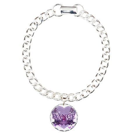 dance forever purple hea Charm Bracelet, One Charm