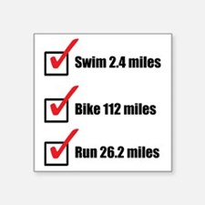 "Triathlon-Long-Course Square Sticker 3"" x 3"""