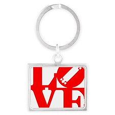love_longboard_rojo Landscape Keychain
