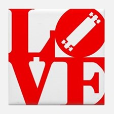 love_longboard_rojo Tile Coaster