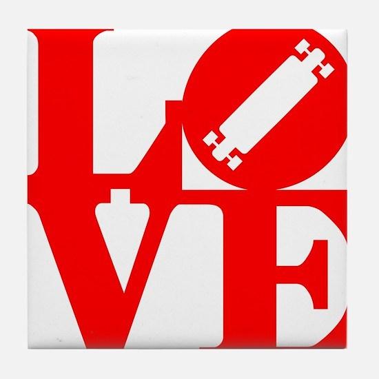 love_longboard_rojo Tile Coaster