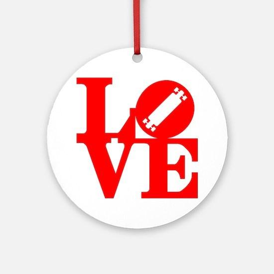 love_longboard_rojo Round Ornament