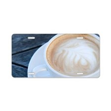 Latte Coffee with Fern Fron Aluminum License Plate