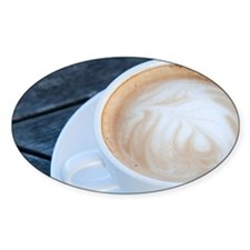 Latte Coffee with Fern Frond Patter Decal