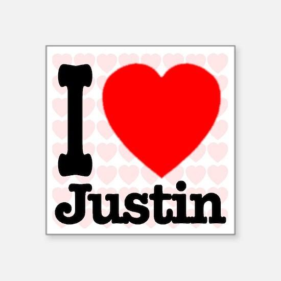 """iheart_Justin Square Sticker 3"""" x 3"""""""