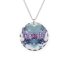 twilight forever aqua heart  Necklace Circle Charm