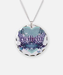 twilight forever aqua heart  Necklace Circle Charm