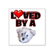 "Loved by a Schnoodle Square Sticker 3"" x 3"""