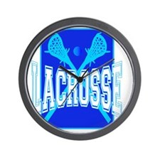 LACROSE blue black tees Wall Clock