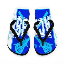 LACROSE blue black tees Flip Flops