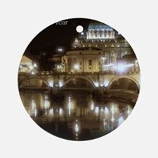 (5x7) St Peters across the Tiber at Round Ornament