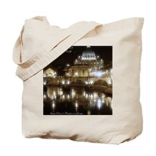(5x7) St Peters across the Tiber at night Tote Bag