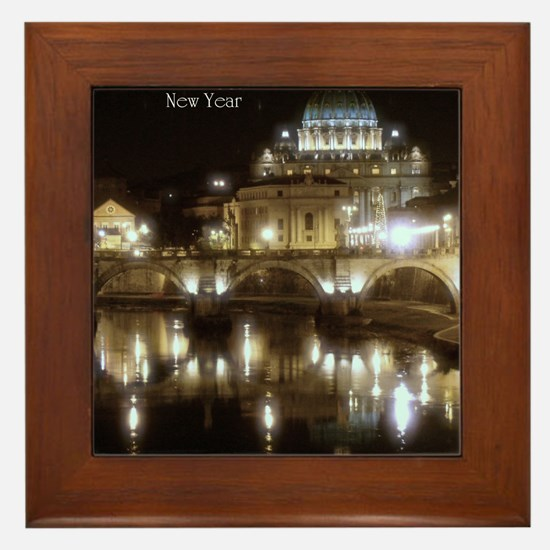 (5x7) St Peters across the Tiber at ni Framed Tile