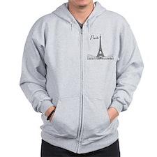 EiffelTower_10x10_apparel_BlackOutline Zip Hoodie