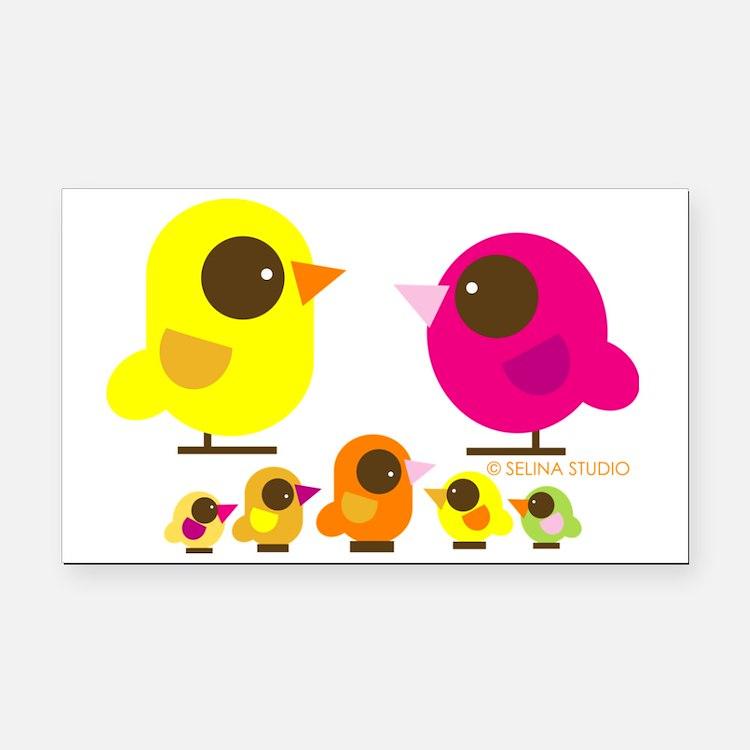 bird family 5 kids Rectangle Car Magnet