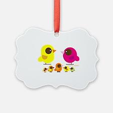 bird family 5 kids Ornament
