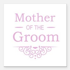 "Mother of the Groom pink Square Car Magnet 3"" x 3"""