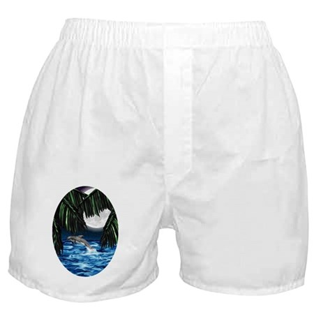 Moonlit Paradise ornament_oval Boxer Shorts