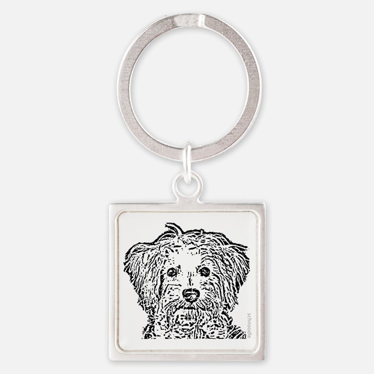 Schnoodle_bw Square Keychain