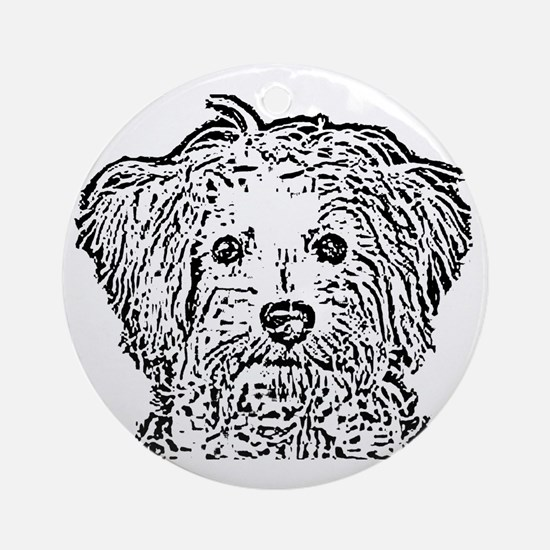 Schnoodle_bw Round Ornament