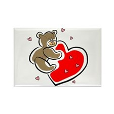 Teddy Bear with Heart Rectangle Magnet