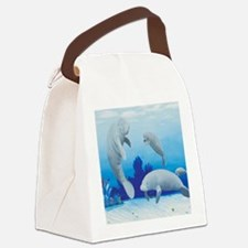 manatees-3-square Canvas Lunch Bag
