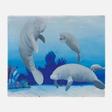 manatees-3-square Throw Blanket