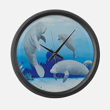 manatees-3-square Large Wall Clock