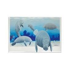 manatees-3 Rectangle Magnet