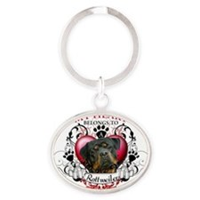 My Heart Belongs to a Rottweiler 2 Oval Keychain